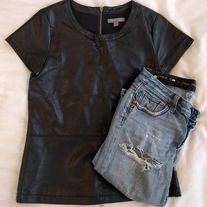 Tinley Road edgy vegan leather t-shirt